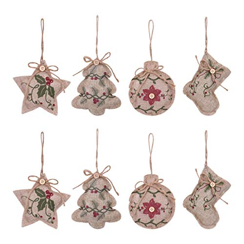 KOMIWOO 8 Pack Burlap Stocking Tree Ball Star Christmas Tree Ornaments, Great Rustic Vintage Holiday Party Decorations