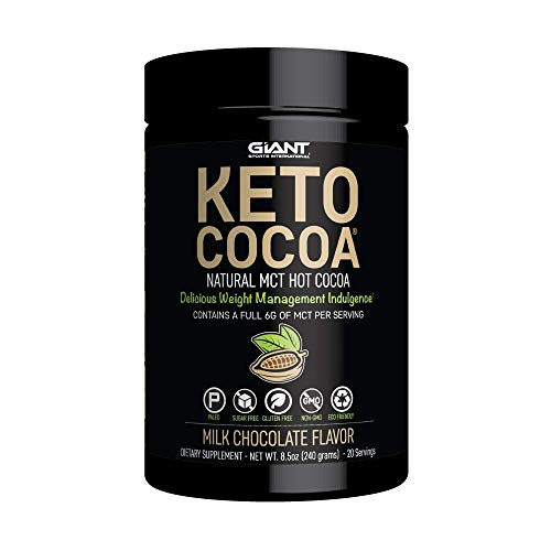 Cheap Giant Sports Keto Cocoa – Sugar Free Hot Chocolate with MCTs for Low Carb Ketogenic and Paleo Diet, Gluten Free, 20 Servings