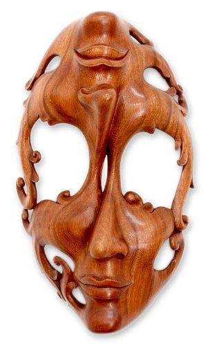 NOVICA Decorative Modern Suar Wood Mask, Beige, 'Joy And Sorrow' by NOVICA