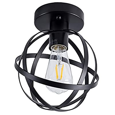 Retro Industrial Semi Flush Mount Ceiling Lights, with Black Globe Metal Shade Ceiling Light Fixture for Hallway Stairway Porch Bedroom Kitchen