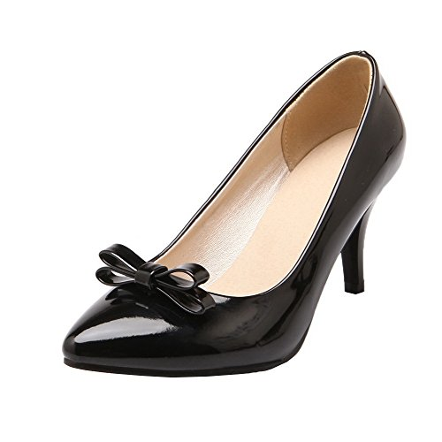 Odomolor Women's Pull-On Patent Leather Closed-Toe High-Heels Solid Court Shoes Black 09EOCVxzq