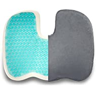 Dr. Flink Coccyx Seat Cushion Pillow Gel-Enhanced - Memory Foam Quality Comfort & Large Designed Orthopedic for Sciatica Car Home, Office, Chair, Back, Support, Coccyx and Tailbone Pain Relief (Grey)