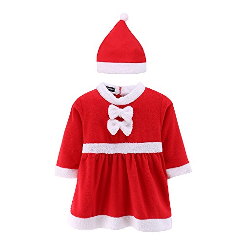 Bunny Costume Santa (Baby Santa Romper Costume with Hat Infant and Toddler Christmas)