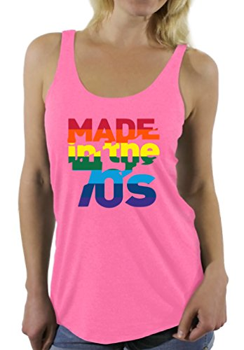 Awkward Styles Women's Made in The 70's Rainbow Racerback Tank Tops 70s Birthday Cool Party Idea Pink (70s Party Clothes Ideas)