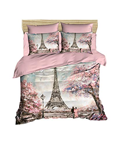 OZINCI Paris Bedding Set, 3D Printed Eiffel Tower Themed 100% Cotton Duvet Cover Set, Special Design, Full/Queen Size, No Flat or No Fitted Sheet, (3 Pcs) (Canada Duvet Sets Cover)