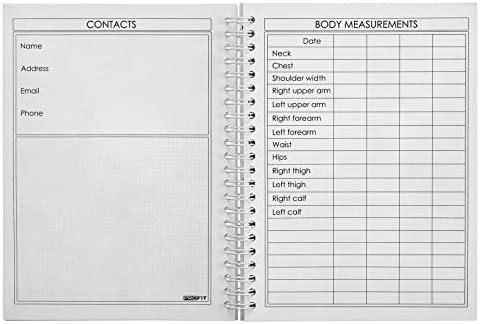 ProFit Fitness and Food Journal - Weight Loss Planner | Workout Log | Diet Notebook | Gym Exercise Diary - Easy-To-Use A5 Fit Book / 6x8 Inches / 140 Pages / Undated 4