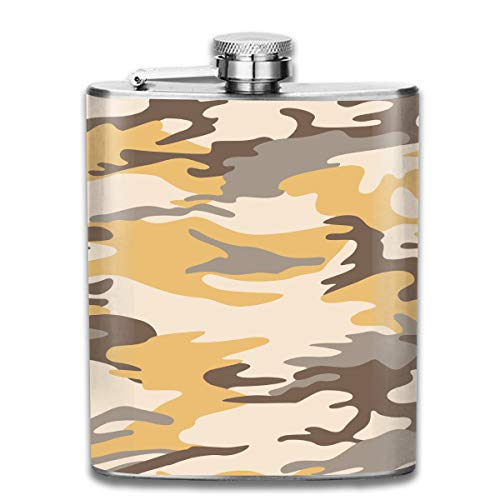 (Oximing Customized Yellow Camouflage Suit Stainless Steel Wine Bottle, Personalized Flask Gift)