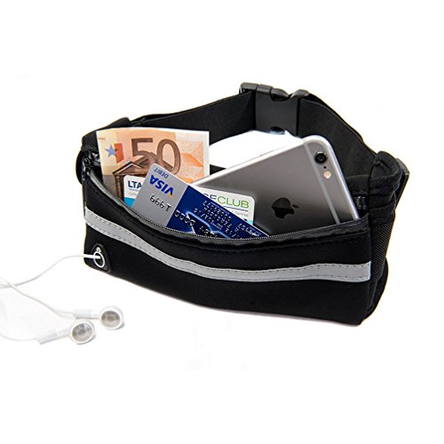 Running Belt Waist Pack Fanny Pack for Running Hiking Trainning, Adjustable Running Pouch for iPhone 7 6 6s Plus, Samsung Galaxy S8 S7 S6 Edge (Black)