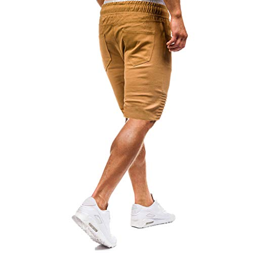 Allywit Mens Gym Drawstring Shorts Workout Training Running Shorts with Pocket Khaki by Allywit-Pants (Image #3)