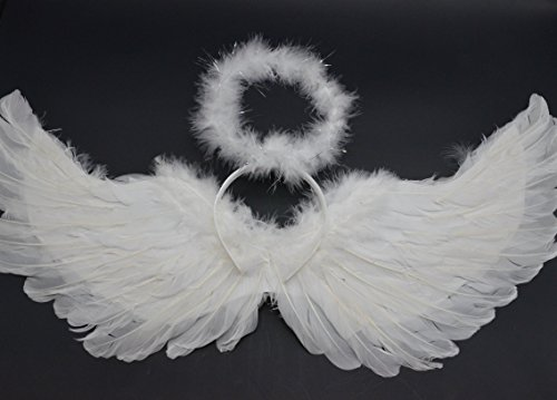 W Fashion shop Children Show Angel Feathered Wings White Angel Wings & Headband Halo -