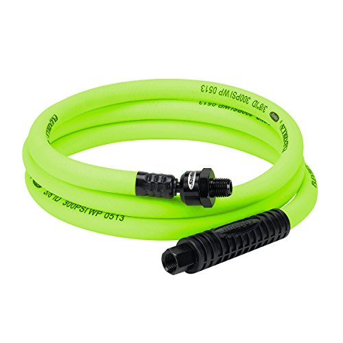 Flexzilla Ball Swivel Whip Air Hose, 3/8 in. x 6 ft. (1/4 in. MNPT Ball Swivel x 1/4 in. FNPT Ends), Heavy Duty, Lightweight, Hybrid, ZillaGreen - ()