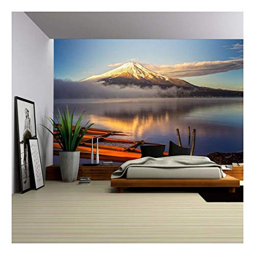 wall26 - Mount Fuji Reflected in Lake Yamanaka at Dawn, Japan. - Removable Wall Mural | Self-Adhesive Large Wallpaper - 66x96 inches