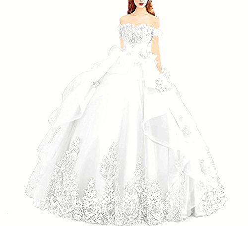 (Modeldress Off Shoulder Applique Tulle Ball Gown Beaded Princess Quinceanera Evening Prom Dress White US2)