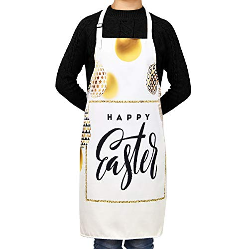Claswcalor Easter Day Cooking Aprons,Lively Easter Bunny and Easter Egg Aprons Kitchen Aprons, Waterproof Adjustable Baking Aprons for - Easter Apron