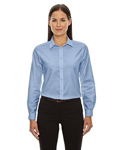 North End Ladies Long Sleeve Oxford Shirt. 77038 - Small - Light Blue - North Light Oxford