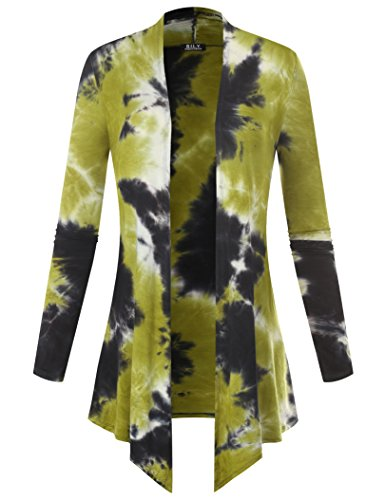 Long Drape Cashmere Cardigan - BILY Women's Open Front Drape Hem Lightweight Cardigan Tie-Dye Green Large