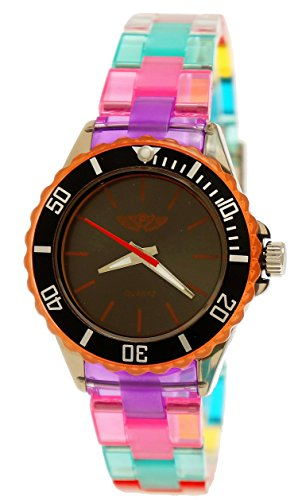 Price comparison product image Cool NY London Rainbow Plastic Watch Colorful Plastic Ladies Bracelet Watch Boys Girls Wrist Watch Black Yellow Blue Green Including Watch Box
