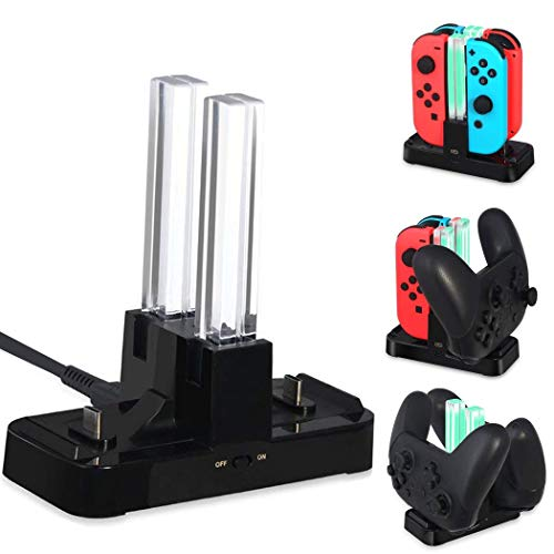(OIVO Controller Charger Compatible with Nintendo Switch, Charging Dock Station Compatible with Switch Joy Cons and Pro Controller, with LED Charging Indicators)
