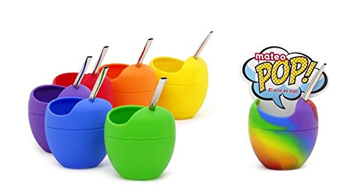 Mate Mateo - Silicone Yerba Mate Gourd Cup with Bombilla (Pop Multicolor) by Mateo: Amazon.es: Hogar