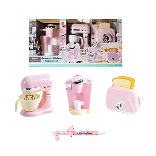 - PlayGo Pretend Play Gourmet Kitchen Appliance Set - Single Serve Coffee Maker, Mixer & Toaster, 3 Piece (Pink)