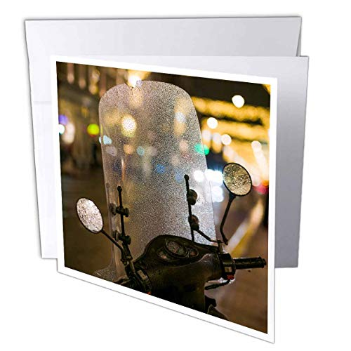 (3dRose Danita Delimont - Motorcycles - Netherlands, Amsterdam. Motorbike windscreen and Multi-Colored Lights - 12 Greeting Cards with envelopes (gc_313796_2))