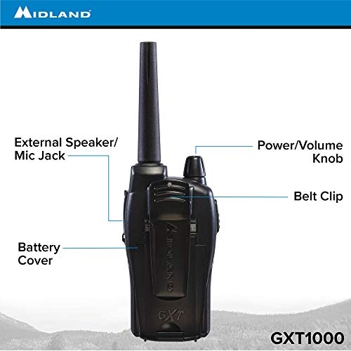 Midland - GXT1000VP4, 50 Channel GMRS Two-Way Radio - Up to 36 Mile Range  Walkie Talkie, 142 Privacy Codes, Waterproof, NOAA Weather Scan + Alert