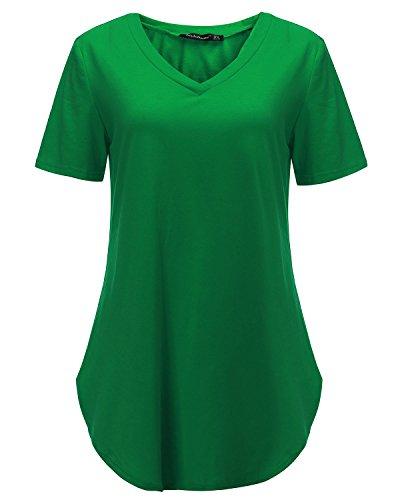 Verde Donna Maglietta Basic V Maglia T Ragazza Shirt Corta StyleDome Collo Manica PqvdB