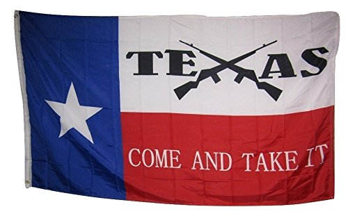 (3x5 State of Texas Come and Take It Crossed Rifles Rough Tex Knitted flag 3'x5' Banner Brass Grommets House Banner Brass Grommets Fade Resistant Double Stitched Premium Quality)