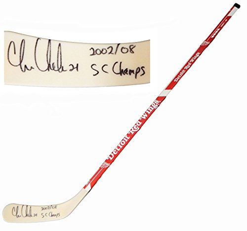 Chris Chelios Red Wings - Chris Chelios Signed Detroit Red Wings Logo 48 Inch Full Size Hockey Stick w/2002, 08 SC Champs