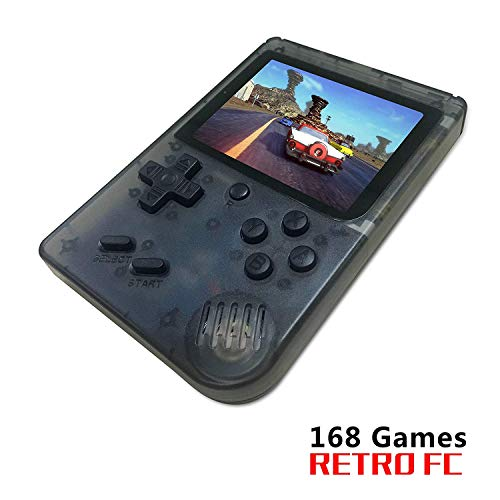 FLYFISH Retro Handheld Game Console,Portable FC Game Console 3 Inch 168 Classic Games , Birthday Present for Children -Transparent Black