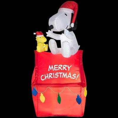 Gemmy Industries Airblown Snoopy On House With Banner And Lights Christmas Decoration -