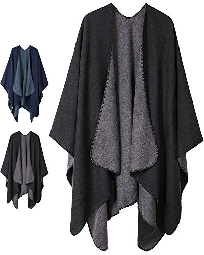 Women Plaid Shawls and Wraps,Winter Poncho Cape,Soft Cashmere Cloak,Oversized Long Cardigan Sweaters(Black)