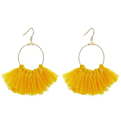 (INSANEY Bohemian Handmade Multi Color Tassel with Gold Plated Dangle Drop Gold Hoop Earrings (Yellow) )