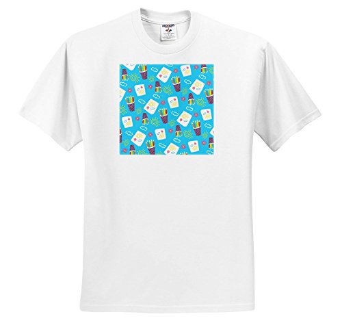 Price comparison product image 3dRose Anne Marie Baugh - Patterns - Cups Of Color Pencils and artist Notepads Pattern - T-Shirts - Youth T-Shirt Small(6-8) (TS_274119_12)