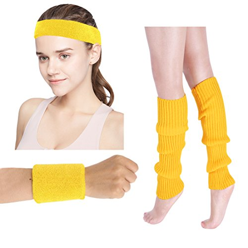 Women's 80s Costumes Accessories Neon Headband Wristband Leg Warmers Set for 1980s Theme Party Supplies(Yellow)]()