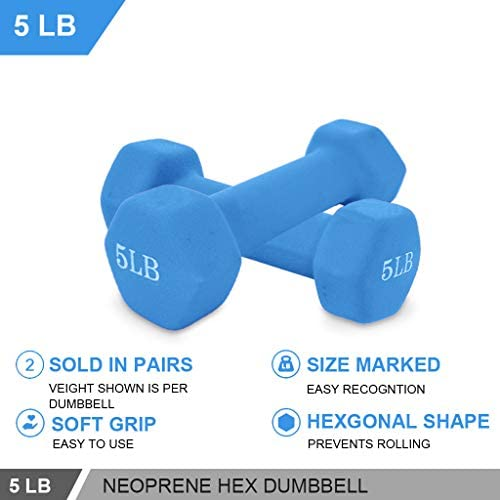 988 Dumbbells Barbell Set of 2, 3/5/8/10Lb Neoprene Dumbbell Barbell Hand Weights for Muscle Toning Strength Building, Loss Weight for Women Men 2