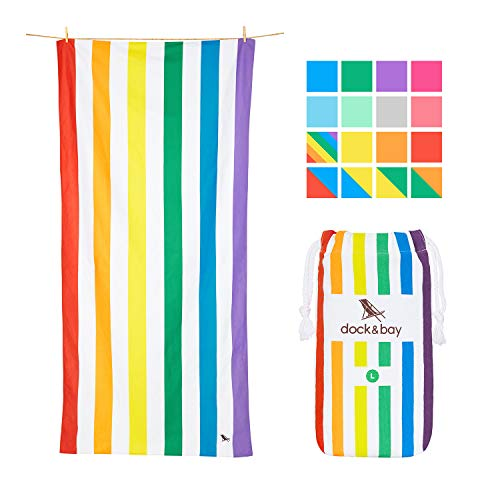 (Dock & Bay Rainbow Towel Microfibre Beach Accessories - Rainbow Skies, Large (160x80cm, 63x31) - Quick Dry Towel, Compact & Lightweight, Rainbow Flags)
