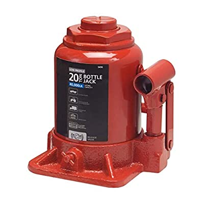 Globe House Products GHP Rugged All-Steel & Rust-Free Low Profile 20 Ton Hydraulic Bottle Jack Hoist Lift