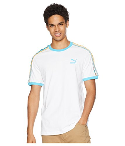 (PUMA  Men's x Coogi Archive T7 T-Shirt White/Blue Atoll Medium)