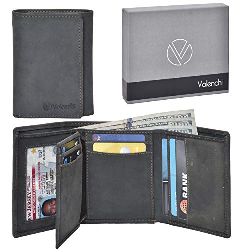 Leather Wallet Money Organizer - Valenchi-RFID Genuine Leather Trifold Wallet with Flap for Men and Women 9 card slots,2 Note pocket coin pocket & ID window (Black Oily Hunter)