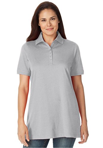 Women's Plus Size Top, Perfect Polo Short-Sleeve T-Shirt Heather Grey,5X