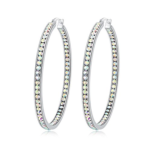 Ladies Earring Hoops-Stainless Steel Hoop Earrings for Women Cubic Zirconia Large Big Hoop Earrings Hypoallergenic for Sensitive Ears