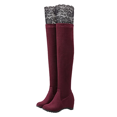 Charm Foot Womens Elastic Nubuck Over the Knee High Winter Boots Wine Red mSerfspdM