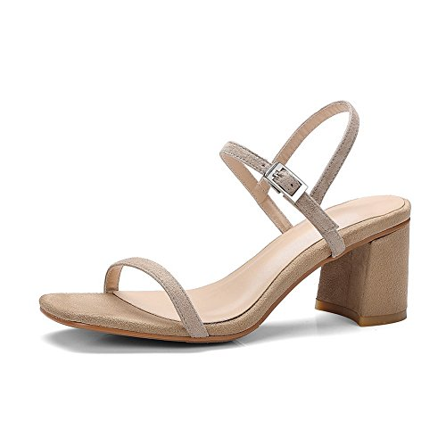 Chunky Heeled Sandals MJS02688 Apricot Womens Metal Buckles Lambskin Solid 1TO9 Heels 5w0SaRxRq