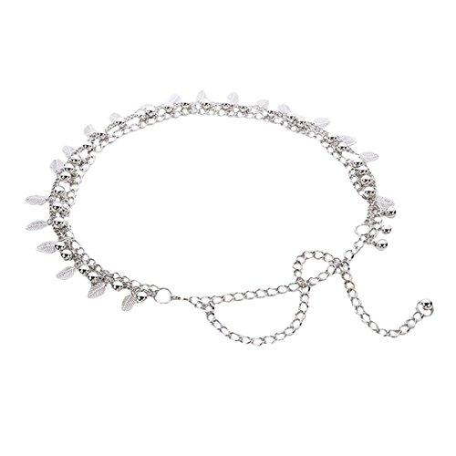 - LABANCA Womens Metal Chain Dress Belt Hollow Out Leaf Bead Pendant Sweater Belt Decorated Skinny Waist Belt Silver
