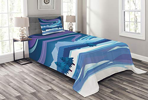 Ambesonne Northwoods Bedspread Set Twin Size, Aurora Borealis Composition Countryside Elements Frozen Lake Hills and Trees, 2 Piece Decorative Quilted Coverlet with 1 Pillow Sham, Blue ()