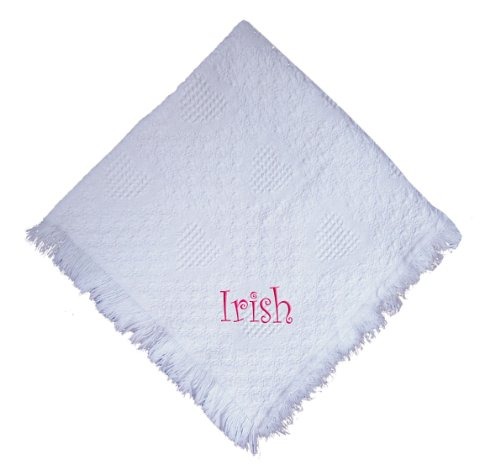 Irish Girl Embroidered Embroidered Cotton Woven White Baby Blanket