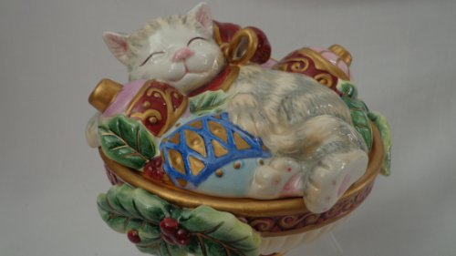 (Kristmas Kitty Lidded Box, Fitz and Floyd Christmas Collectible, Holiday Cat Collectible)