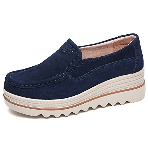 Lakerom Women's Slip On Loafers Platform Comfort Suede Moccasins Wide Low Top Wedge Shoes Work Shoes Dark Blue iqOs7AbCEy