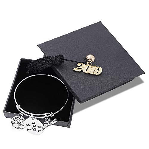Turandoss Graduation Gifts Charm Bracelet - Inspirational Adjustable Charm Bangle Bracelet Engraved You are Braver Than You Believe Girls Inspirational Gifts Graduation Gifts for Her (2019)